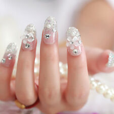 Great Bride Wedding False Artificial Fake Nails Tips French White Stud Finger