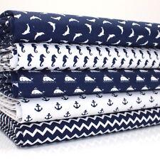 FQ Bundle Piccolo Nautico Stampe Blu scuro x 5 Cotone Tessuto Patchwork Quilting