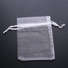 50x Bulk Sheer White Organza Drawstring Wedding Pouch Packaging Gift Bags 8x10cm