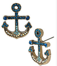 BETSEY JOHNSON SHIP SHAPE PAVE CRYSTAL ANCHOR STUD EARRINGS~NWT