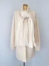 VGC Aran Crafts Ivory Aran Fisherman Cardigan Sweatercoat Sweater & Scarf Set XL