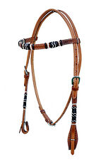 Western Natural Leather Rawhide Braided Headstall with Quick Release