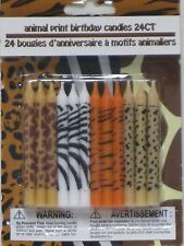 Animal Print Birthday Candles 24ct Giraffe Zebra Tiger Leopard Cake Topper BFR
