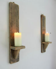PAIR OF 50CM RECYCLED PALLET WOOD SHABBY CHIC WALL SCONCE CANDLE  HOLDER