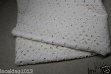 1y Embroidery Flower Eyelet Cotton Lace Fabric Ivory/Cream - 90cm x 140cm yh1483