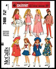 "Barbie sister 9"" SKIPPER DOLL Fabric Sewing Pattern Mattel McCall's 7480 Clothes"