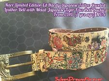 LIMITED EDITION ED HARDY JAPANESE TATTOO JEWELED BELT W TIGER METAL BELT BUCKLE