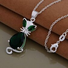 925 STERLING SILVER & GREEN MOLDAVITE/DIOPSIDE CAT GEMSTONE PENDANT NECKLACE
