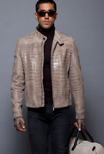 New BRIONI Beige Tan Full Alligator Leather Bomber Coat Jacket 50 M L NWT $65K