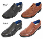 Mens Brand New Black Brown Leather Lined Lace Up Brogue Shoes Size 6 7 8 9 10 11