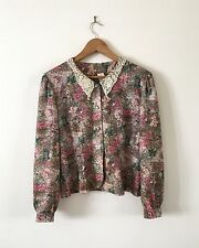 Vintage Floral Lace Collar Tea Blouse Top WW2 Swing 40s Hipster Indie Grunge M ♡
