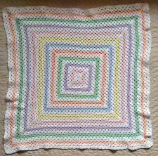 Handmade Crochet Baby Afghan Pastel White Around World Granny Square Homemade