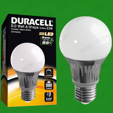 8x 6W Dimmable Duracell LED Frosted GLS Globe Instant On Light Bulb ES E27 Lamp