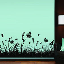 Wall Decal Grass Branch Plant Nature Flower Butterfly Tree Bedroom House M1326