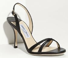JIMMY CHOO 'India' Black Glitter Strappy Heels Sandals Shoes Uk 2.5 Eu 35.5