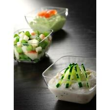 72 Small Plastic Square Bowls - - - - clear roundish edge container holder tubs