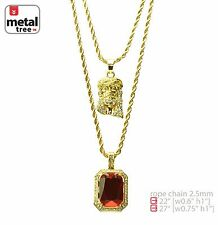 """Solid 14k Gold Plated Jesus & Red Ruby 22"""" 27"""" Combo Pendant Necklace MHC 209 G"""