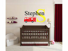 """Boys Personalized Fire Truck Name Monogram Decal Nursery Room Wall Decal 15""""Tall"""