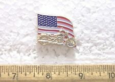 United States Flag with Motorcycle Pin
