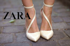 ZARA BEIGE PATENT COURT SHOES WITH BUCKLES ASYMMETRIC STRAPS UK 8 EU 41 US 10
