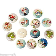 100PCs Mixed Wood Sewing Buttons Christmas Pattern Scrapbooking  15mm