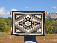 OLD VINTAGE NAVAJO INDIAN TWO GREY HILLS RUG - MARY YAZZIE WITH ID TAGS 22 X 31