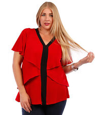 NEW! WOMEN'S PLUS SIZE CLOTHING RED AND BLACK GORGEOUS BATWING BLOUSE 5X