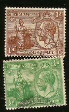 1922 TRINIDAD & TOBAGO INSELN 1/2 & 1d KING GEORGE V ZWEI GEBRAUCHT BRIEFMARKE