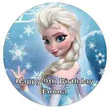 Elsa Frozen Personalised Cake Topper Edible Wafer Paper 7.5""