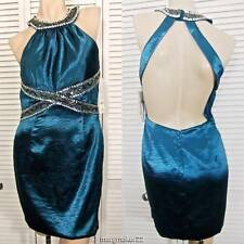 NWT$139 MORGAN & Co. DRESS 7/8 Jr TEAL High Neck Backless Beaded PROM HOMECOMING