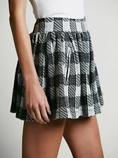 Free People Holly Go Lightly Black Plaid Mini Skirt-M