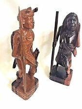2 Philippine Hunter Mountain Climber Wood Carved Statue Figure 1988 Vintage  EVC