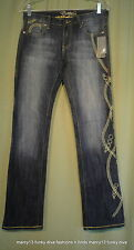 NWT COOGI  Denim Jeans Low Rise Embroidered Gold Chains  Size 9 / 10  Waist 30