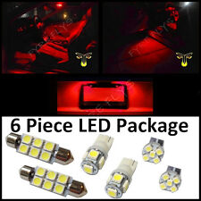 6 Red LED interior lights package T10 & 42mm map dome + license plate lamp G2R
