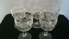 Set of five vintage 60's- 70's frosted grapevine and  gold rim footed goblets