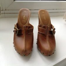 Next Platform Tan Leather Platform Mules in good condition.Size 4UK