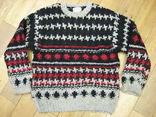 EDDIE BAUER 100% WOOL PATTERN HEAVYWEIGHT JUMPER SIZE:LARGE