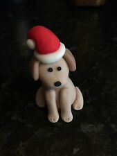 Edible Christmas Dog Cake Icing Topper