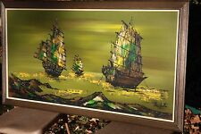 MATCHED PAIR: Mid Century Ships Paintings Lee Reynolds' Vanguard Studios Nichole