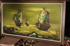 MATCHED PAIR: Mid Century Ships Paintings Lee Reynolds' Vanguard Studios Nichole