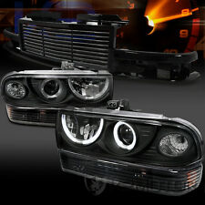 98-02 Chevy S10 Blazer Black Halo Projector Headlights Bumper Lamp+Hood Grille