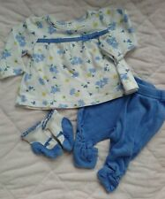 Baby girl clothes 0-3 months outfit set Blue leggings socks floral Gymboree