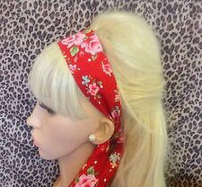 NEW RED ROSE FLORAL PRINT RETRO COTTON HEADBAND HAIR SCARF SELF TIE BOW VINTAGE