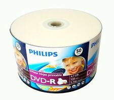 1000 PHILIPS Blank DVD-R DVDR White Printable 16X 4.7GB Media Disc EXPEDITED M