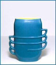 RED WING POTTERY    Vase with Multiple Handles    Blue & Yellow    Excellent