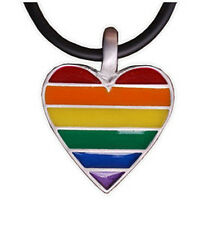 Pride Shack - Pewter Rainbow Flag Heart Pendant Lesbian Gay Pride LGBT Necklace