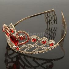 Elegant Rhinestone Red Teardrop Hair Tiara Crown Women Bridal Hairdressing