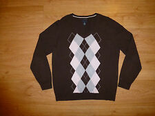 TOMMY HILFIGER MULTI ARGYLE V NECK COTTON JUMPER SWEATER FOR MEN SIZE M