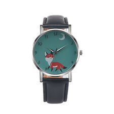 A Women's Retro Cartoon Leather Band Analog Alloy Quartz Wrist Watch Fox Design&