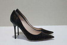 New sz 9.5 / 39.5 Jimmy Choo Abel Black Zebra Print Lame Classic Pump Shoes